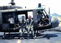 1LT Bob Dudley and 1LT Jay Vivari leaving Quang Tri for R&R in Australia. They'll be partying hard, no doubt, together